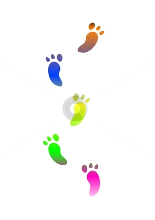 Footprints stock photo, coloured footprints traces - computer generated clipart by Stelian Ion