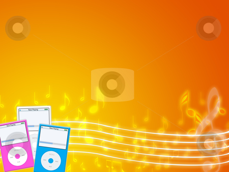Music mp3 stock photo, Illustration of an fashion mp3 portable player by Sabino Parente