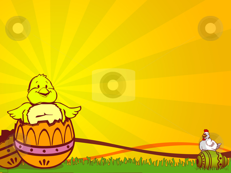 Easter stock photo, illustration for easter holidays with chicken and eggs by Sabino Parente