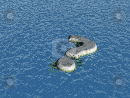 Question mark isle stock photo, stone question mark at water - 3d illustration by J?
