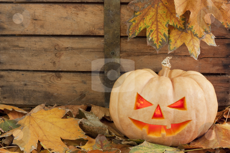 Halloween creepy pumpkin stock photo, Creepy carved pumpkin face on wooden bacground and autumn leafs  by borojoint