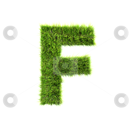 3d grass letter isolated on white background - F stock photo, 3d grass letter isolated on white background - F by Christophe Rolland