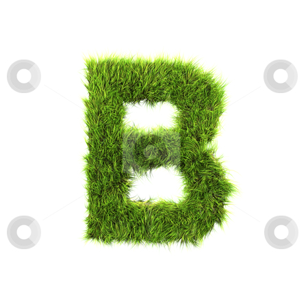 3d grass letter isolated on white background - B stock photo, 3d grass letter isolated on white background - B by Christophe Rolland
