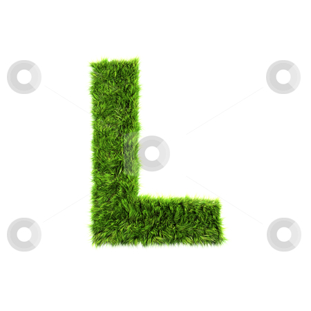 3d grass letter isolated on white background - L stock photo, 3d grass letter isolated on white background - L by Christophe Rolland