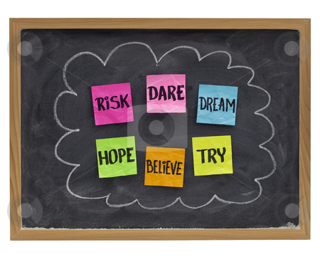 Dare to try - motivational concept stock photo, motivational concept (hope, believe, dare, risk, try,dream) - sticky notes on blackboard by Marek Uliasz