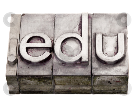 Dot edu - internet domain in letterpress type stock photo, dot com internet educational domain extension in vintage grunge metal letterpress printing blocks, stained by color inks, isolated on white by Marek Uliasz