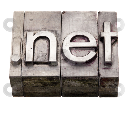 Dot net - internet domain in letterpress type stock photo, dot net internet  domain extension in vintage grunge metal letterpress printing blocks, stained by color inks, isolated on white by Marek Uliasz