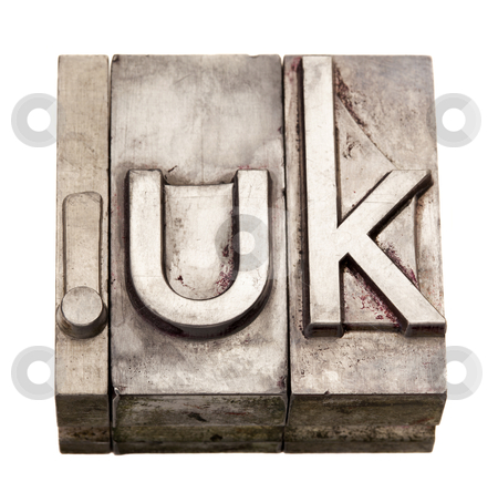 Dot UK - internet domain for United Kingdom stock photo, dot UK - internet country domain  for United Kingdom,  grunge metal letterpress printing blocks, stained by ink, isolated on white by Marek Uliasz