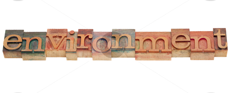 Environment word in letterpress type stock photo, environment word in vintage grunge wooden letterpress printing blocks, isolated on white by Marek Uliasz
