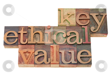 Key ethical value stock photo, key ethical value - business term in vintage wooden letterpress printing blocks, stained by color inks, isolated on white by Marek Uliasz