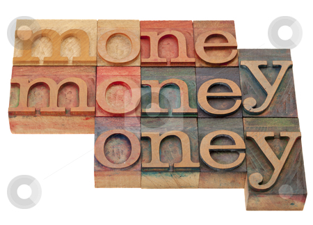 Money - word in letterpress type stock photo, money - word abstract in vintage wooden lettepress prinitng blocks, stained by color inks, isolated on white by Marek Uliasz