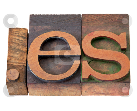 Internet domain for Spain stock photo, dot es - internet domain for Spain in vintage wooden letterpress printing blocks, stained by color inks, isolated on white by Marek Uliasz