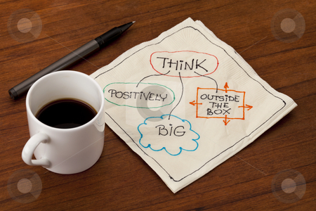 Think outside the box stock photo, think positively, big and outside the box - motivational napkin doodle placed on wooden table with espresso coffee cup by Marek Uliasz