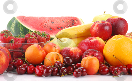 Composition with fresh fruits isolated on white stock photo, Variety of fresh fruits by tofino