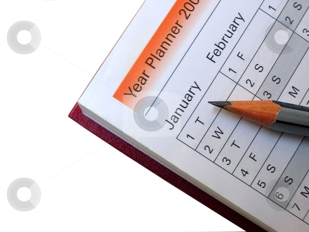 Year Planner With Pencil stock photo, Close up of a Year Planner with pencil on it by Rajar Reddi