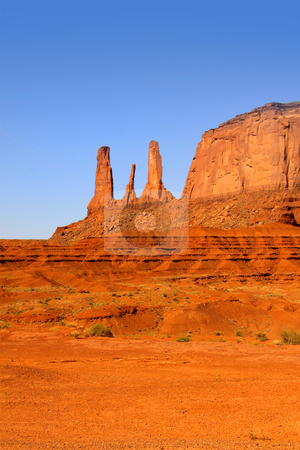 Monument valley stock photo, Red rock formations in scenic monument valley by Sreedhar Yedlapati