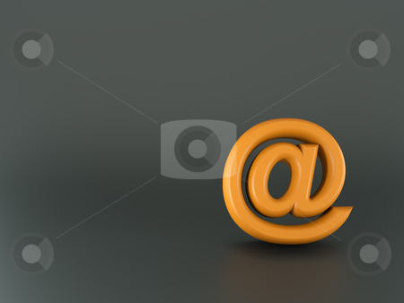 3d orange email sign stock photo, 3d orange email sign on glossy background by Christophe Rolland
