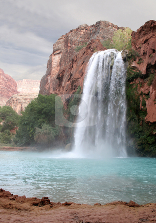 Havasu Waterfall stock photo, A view of the havasu waterfall within the grand canyon.  by Chris Hill