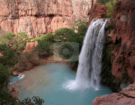 Havasu Falls stock photo, A sideview of the havasu waterfall within the grand canyon.  by Chris Hill
