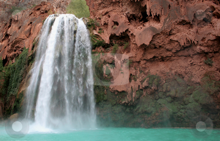 Falls of Havasu stock photo, A view of the havasu waterfall within the grand canyon.  by Chris Hill