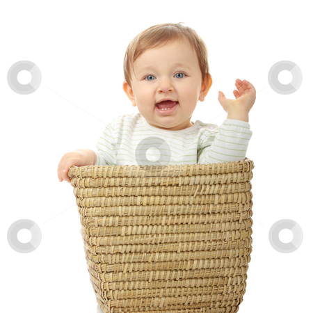 Young baby girl in basket stock photo, Young baby girl in basket isolated on white background by Piotr_Marcinski
