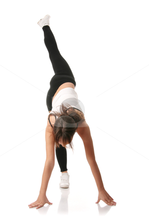 Aerobics stock photo, Physical training (aerobics) of beautiful young woman isolated on white background 