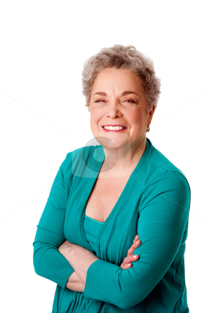 Happy smiling senior woman with arms crossed stock photo, Beautiful Happy smiling senior woman with gray hair and arms crossed, isolated. by Paul Hakimata