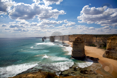Twelve Apostles in Melbourne stock photo, Nature wonder in Melbourne, Australian. Twelve apostles sandstone formations near the great ocean drive in Victoria by instinia