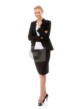 Business woman stock photo, Portrait of beautiful caucasian business woman in black suit, isolated on white background by Piotr_Marcinski