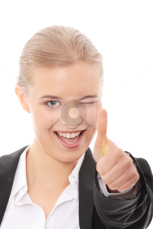 OK stock photo, Young business woman showing OK sign, looking at camera and smiling. Isolated on white background. by Piotr_Marcinski