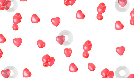 Heart ballons stock photo, Heart shaped balloons over white background - valentines day background by Piotr_Marcinski