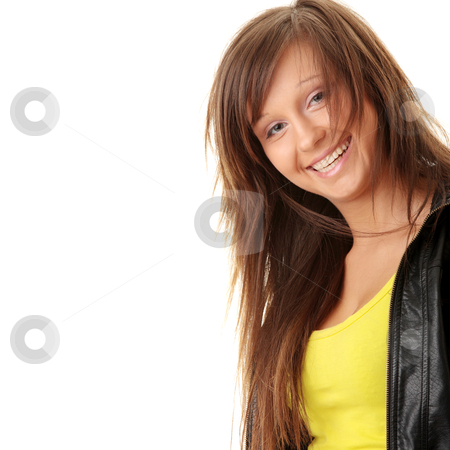 Happy and friendly young lady stock photo, Happy and friendly young lady posing isolated on white background