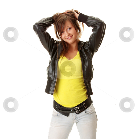 Happy and friendly young lady stock photo, Happy and friendly young lady posing isolated on white background  by Piotr_Marcinski