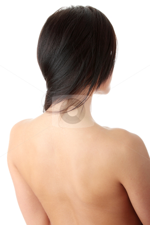 Nude beautiful female body from behind stock photo, Nude beautiful female body from behind, neck close up , isolated on white background  by Piotr_Marcinski