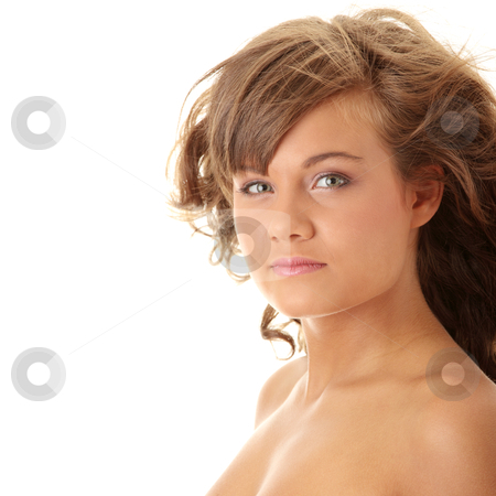 Close-up, portrait of a beautiful woman stock photo, Close-up, portrait of a beautiful woman getting ready for the spa treatment  by Piotr_Marcinski