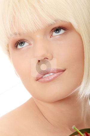 Portrait of the attractive girl stock photo, Portrait of the attractive girl without a make-up, isolated on white background  by Piotr_Marcinski