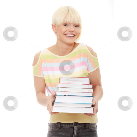 Student stock photo, Young caucasian woman (student) with books - looking up  by Piotr_Marcinski
