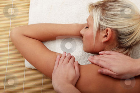 Beautiful caucasian woman getting spa treatment stock photo, Beautiful caucasian woman getting spa treatment, isolated
