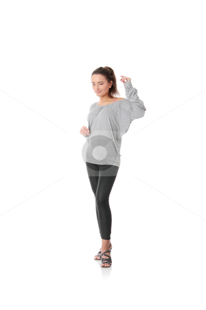 Young woman training rumba dance stock photo, Young woman training rumba dance, isolated on white background by Piotr_Marcinski