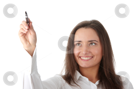 Writing with a pen stock photo, Writing with a pen on abstract screen, isolated on white