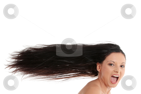 Woman with long hairs stock photo, Woman with long hairs isolated on white background  by Piotr_Marcinski