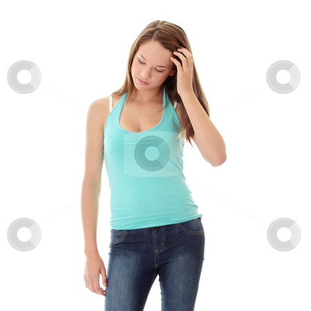Woman with depression stock photo, Teenage beautiful woman with depression isolated on white  by Piotr_Marcinski
