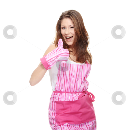 Young beautiful female cook stock photo, Young beautiful female cook, isolated on white by Piotr_Marcinski