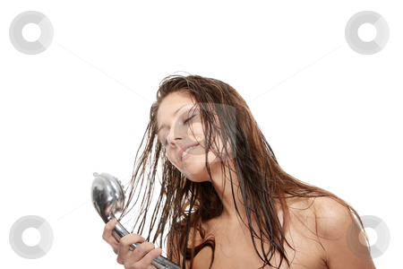 Young woman singing under shower stock photo, Young woman singing under shower, isolated on white by Piotr_Marcinski