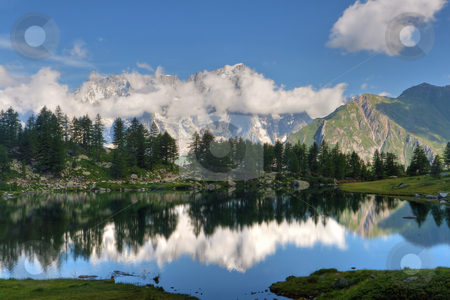 Arpy lake, Italy stock photo, summer view of Arpy lake near La Thuile, Aosta valley, Italy.  by ANTONIO SCARPI