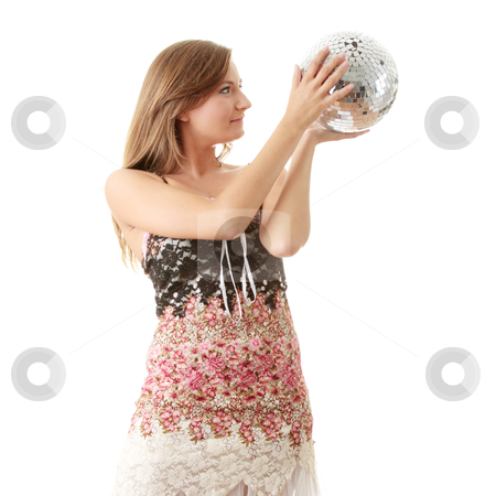 Young blond women with disco ball stock photo, Young blond women with disco ball isolated on white