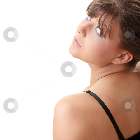 Casual woman in black underwear stock photo, Young casual woman in black underwear by Piotr_Marcinski