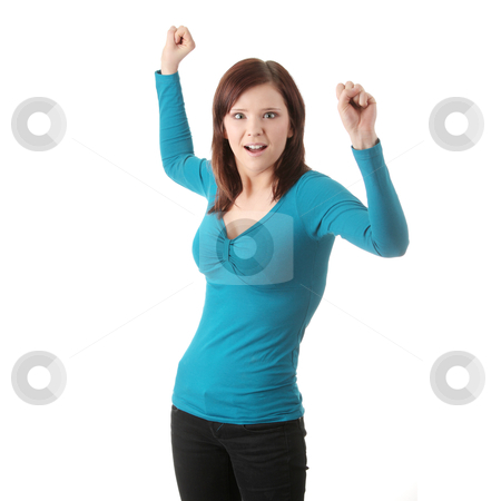Young angry woman stock photo, Young angry woman with fist up, over white background by Piotr_Marcinski