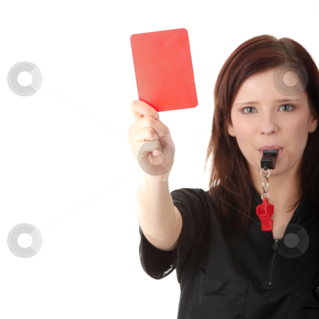 Young female referee stock photo, Young female referee showing the red card, isolated on white by Piotr_Marcinski