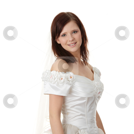 Caucasian bride in long dress stock photo, Caucasian bride in long dress isolated on white background  by Piotr_Marcinski